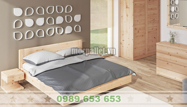 Combo giường ngủ,tủ quần áo và kệ gỗ thông GH20