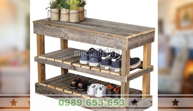 Mẫu kệ gỗ thông để giày giá rẻ KTT10