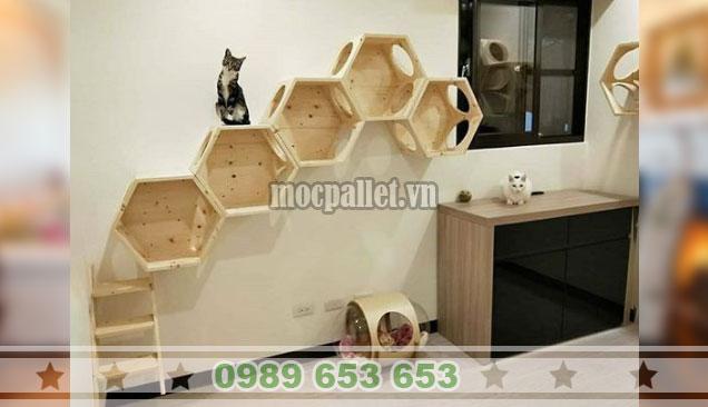 Mẫu kệ gỗ thông hình lục giác đẹp KTT15