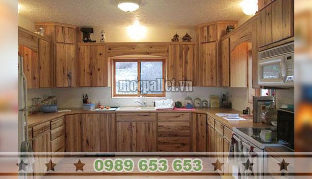 Tủ bếp gỗ thông 2 tầng TB36