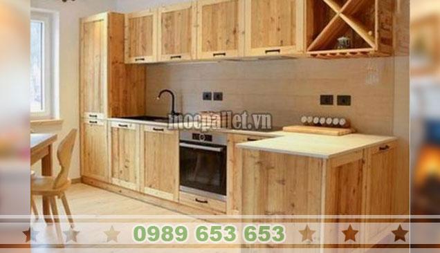 Tủ bếp gỗ thông đẹp nhất TB39