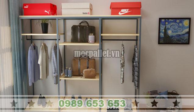 Mẫu tủ quần áo gỗ thông khung sắt giá rẻ tại Hà Nội TG48