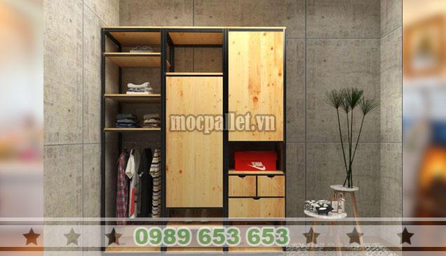 Tủ quần áo gỗ thông khung sắt đẹp Hà Nội TG50