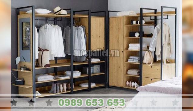 Tủ quần áo gỗ thông khung sắt chữ L TG51