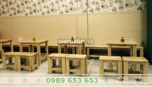 Mẫu bàn ghế gỗ pallet giá rẻ cho nhà hàng BG138