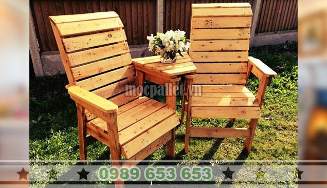 Mẫu ghế gỗ thông pallet có tựa lưng BG148