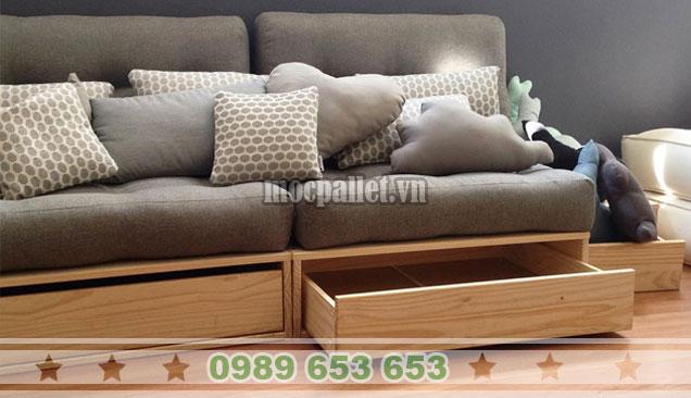 Mẫu ghế sofa gỗ thông có ngăn kéo PK42
