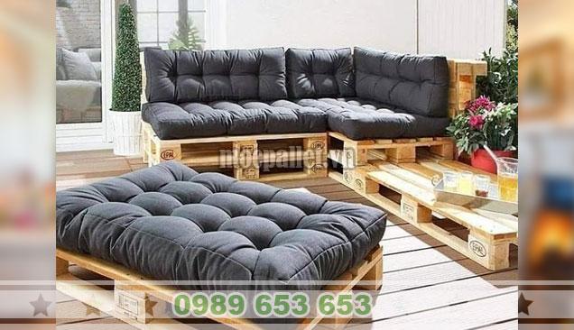 .Bộ bàn ghế sofa pallet đẹp cho phòng khách PK43