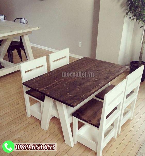 Bộ bàn ghế phòng ăn gỗ thông nhập khẩu PA20
