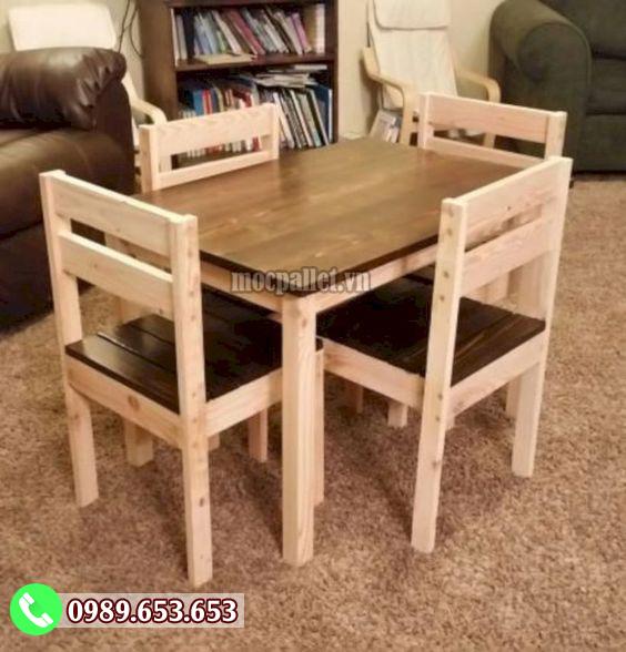 Bộ bàn ghế phòng ăn gỗ thông pallet PA22