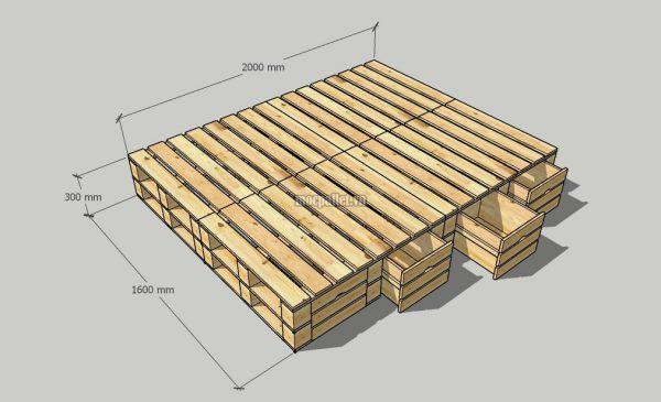 Giường pallet 2 tầng ngăn kéo 1 bên