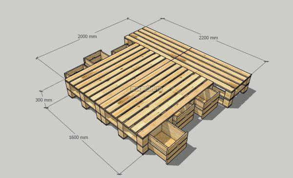 Giường pallet kết hợp 2 ngăn trên và ngăn kéo