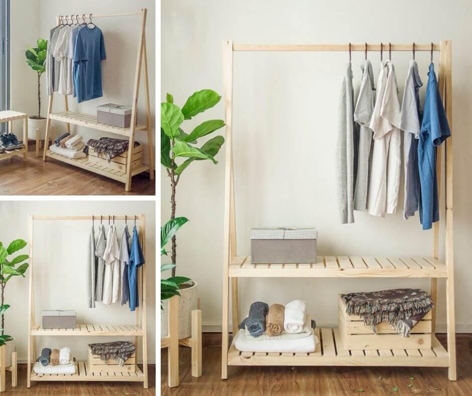 Kệ gỗ treo quần áo
