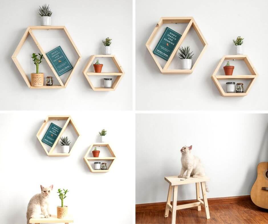 Kệ gỗ treo tường hexagon